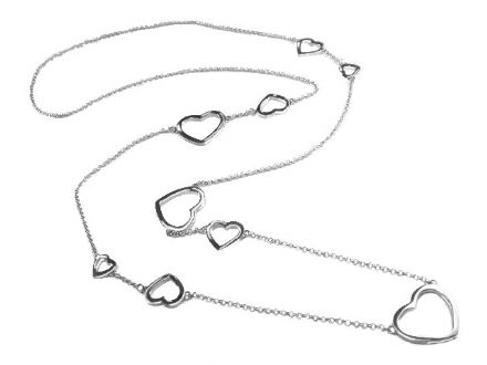 Sterling Silver Long Contemporary 9 Heart Necklace